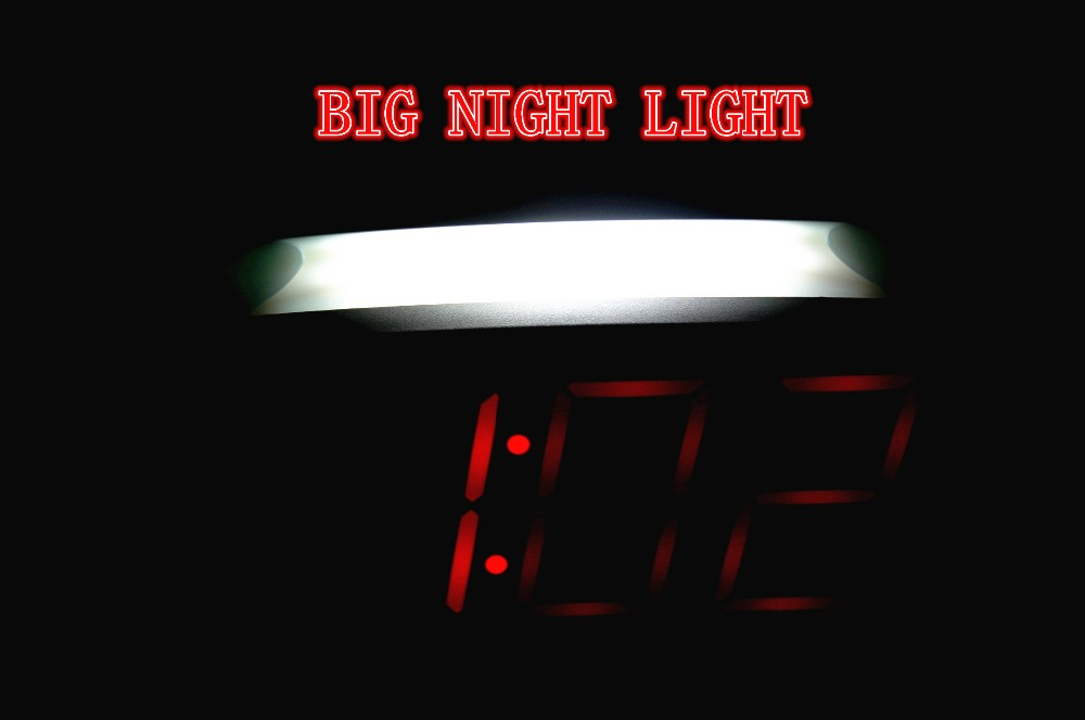 1.8 Inch big red digits LED alarm clock with white night light