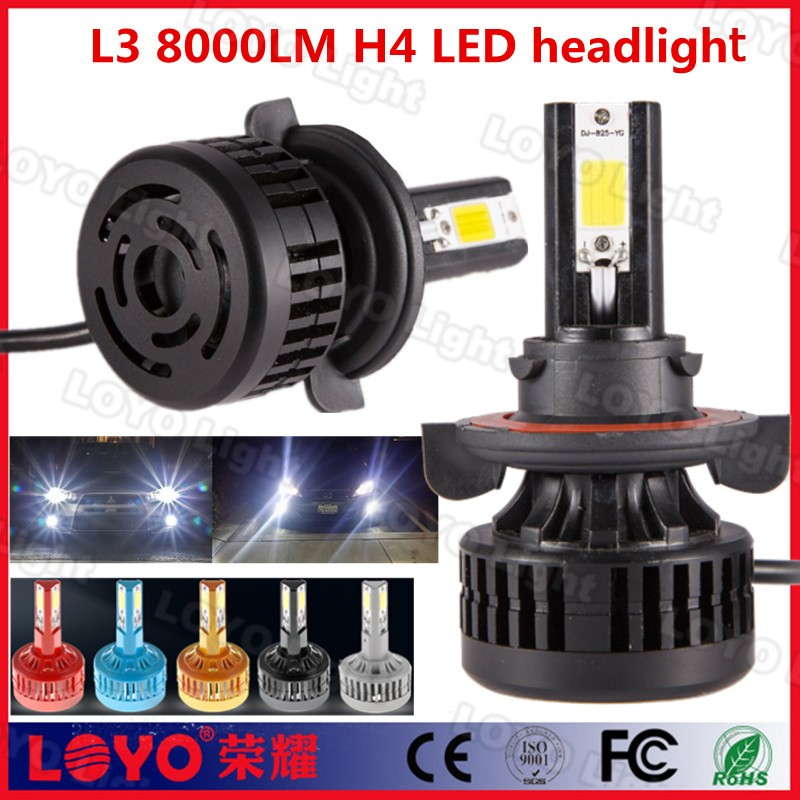 12-24V 3sides cob 8000LM super bright auto H4 LED headlight for car replace bulb