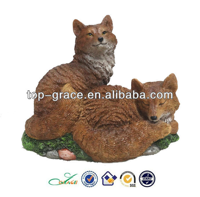 Resin fox garden animal miniature figurine
