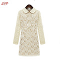 Long sleeve lace dresses women midi casual dress