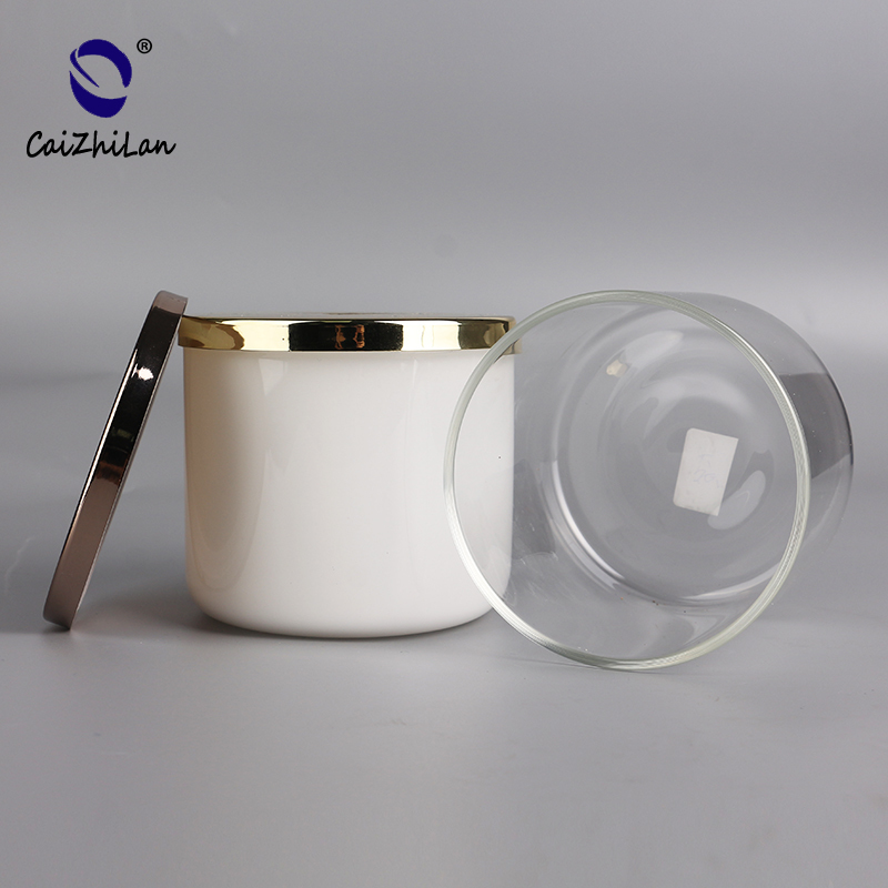 Transparent And White Color Heat Resistant High Borosilicate Glass Candle Jars With Lid Wholesale
