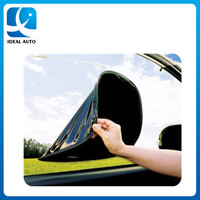 black mesh car static cling sunshade ,one side nylon mesh one side static pvc material windshield sunshade