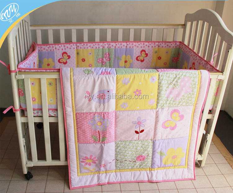Softly baby girl crib bedding set wholesale pink