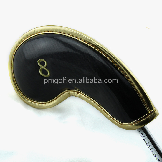 custom made glossy PU leather golf iron head cover set 10pcs golf iron cover on sale