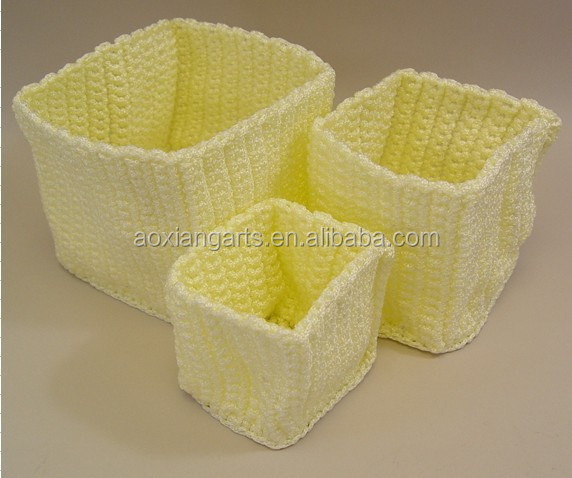 Wholesale Handicraft Linen Fabric Storage Bins with Nylon String
