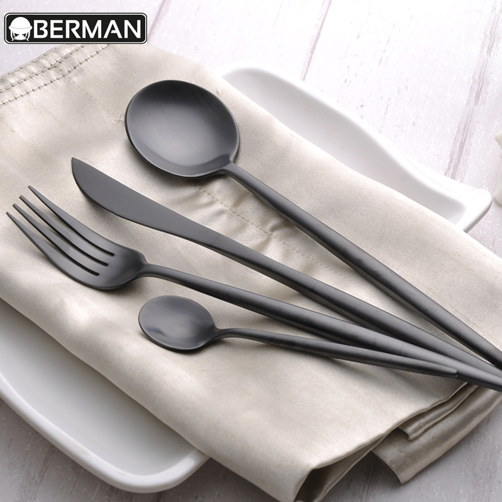 18/10 stainless steel tabletop used restaurant flatware luxury matte black metal cutlery