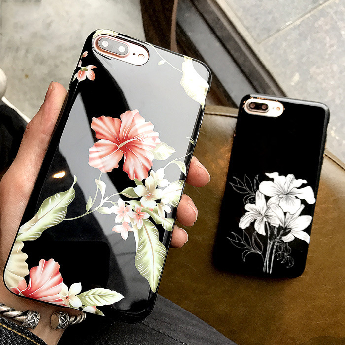 Hot mobile cell phone accessories case 2017 black glossy flower cover for iphone 7/ 8 plus tpu bumper protective phone case