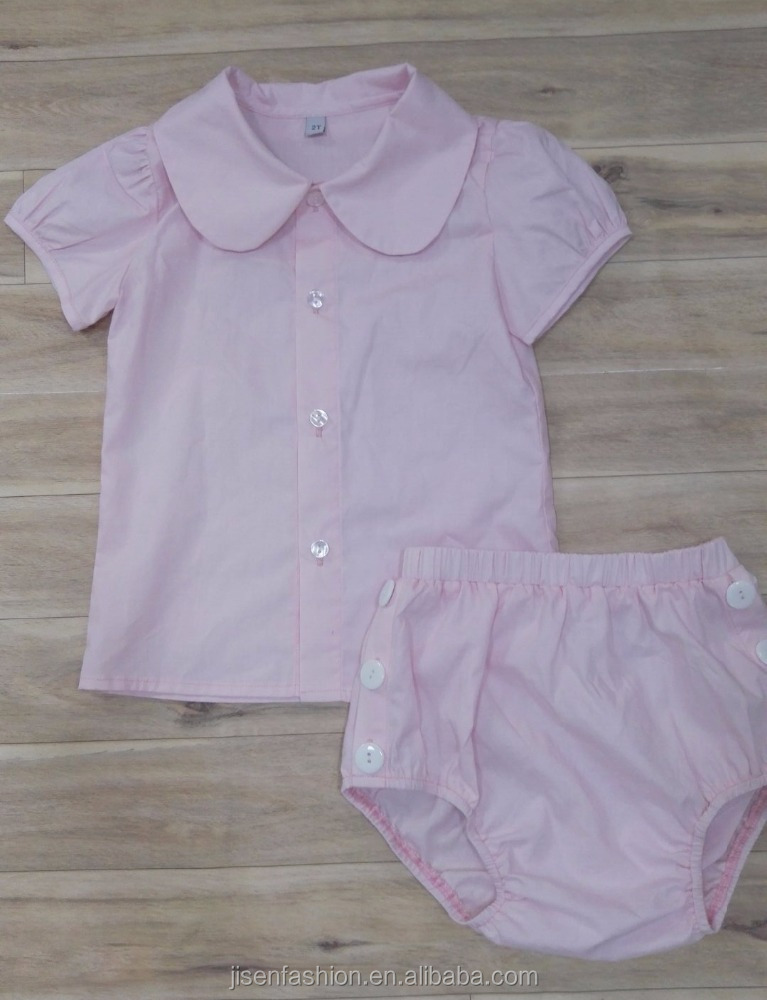 100% cotton infant bloomer set baby summer suits