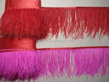 2017 Hot Sale Feather Fringe Feather Trimming with Satin Ribbon Tape
