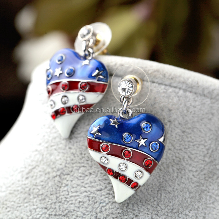 American Flag Day Patriotic U.S.A. Stripes Star Enamel Dangle Rhinestone Earrings Silver/Gold