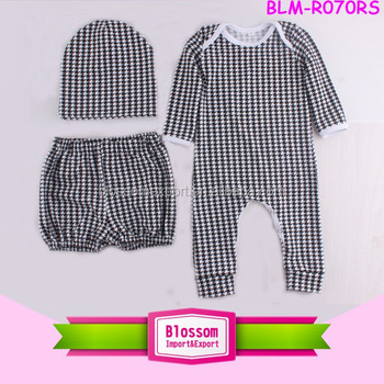 Baby clothes clothing carters wholesale houndstooth pattern overlap infant bodysuit short hat 3 pieces girl onesie crotch romper