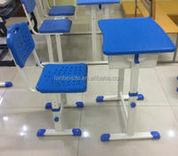 Single-layer plastic school desk and chair