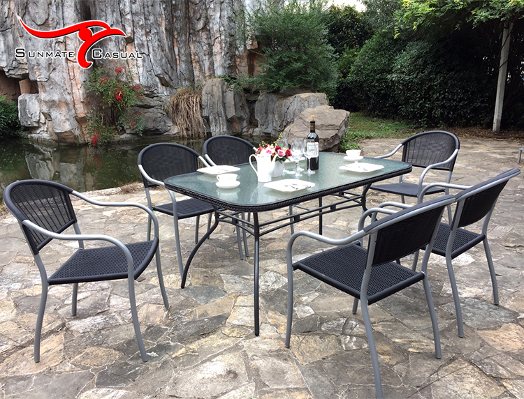 Plastic Injection Molding Rattan Wicker Garden Patio Furniture Restaurant Terrace Outdoor Glass Top Dining Table and Chair Set