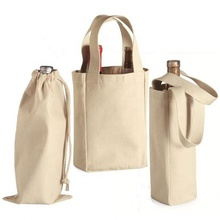 Custom cotton canvas tote recycling single bottle wine bag