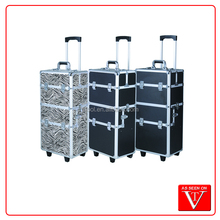 Cosmetic Case 3 in1 Aluminum Rolling Makeup Cosmetic train case