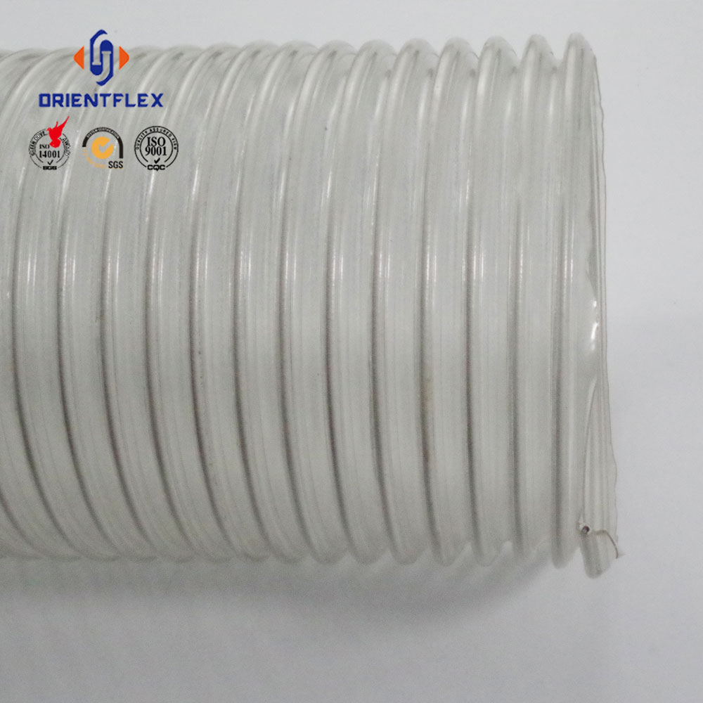 PVC TPU clear flexible corrugated copper plated steel wire reinforced air duct hose