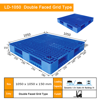1050*1050*150mm double faced grid recycle plastic pallet manufacturer