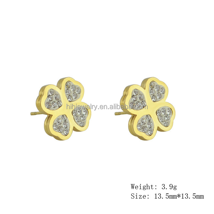 Gold leave 316L Stainless steel earring