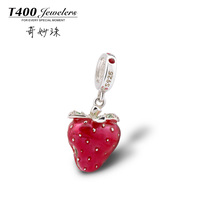 T400 Hot Sale! Strawberry bell Charms 925 sterling Silver,made with Swarovski Elements for European style bracelets #Q118