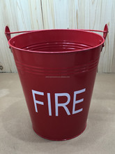 Bright Red Galvanized Metal Tin Food Safe Fire Bucket