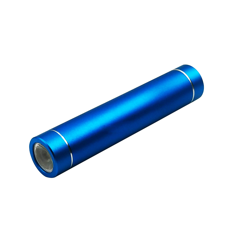 Advertising Aluminium Alloy cover with cylinder Shape 2600mah power bank supply Support led light