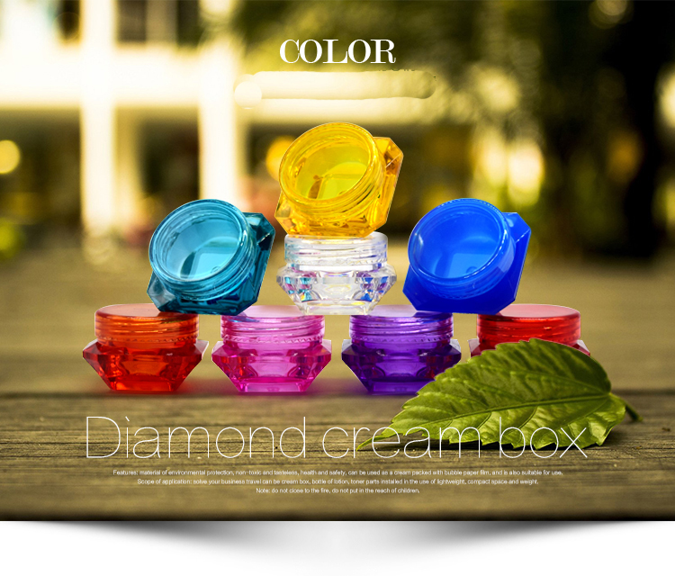Small Size Luxury Colorful Diamond Shaped Plastic Jar For Face Cream Eye Cream Use