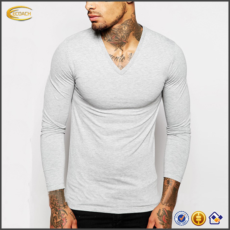 2018 NEW high-quality wholesale custom logo v-neck muscle fit plain solid gray t-shirts for men