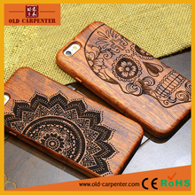 Wholesale laser engraving luxury rose wood mobile phone protection case