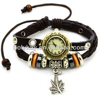 rope leather watch with leaf charms,Latest vintage style genuine leather watch bracelet for women