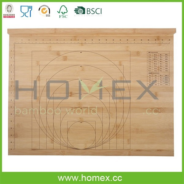 Bamboo Baker's Measuring Cutting Board/Chopping Board with Ruler Printing/Homex_FSC/BSCI Factory