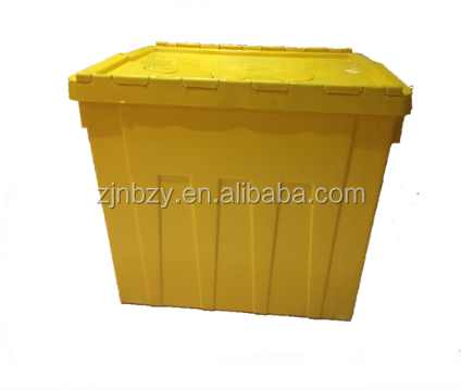 Wholesale price commercial HOT heavy duty 40KG load plastic moving crates with foldable lids