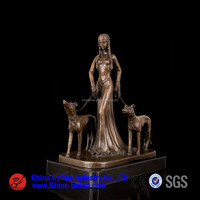 China bronze sculpture of lady and dog,wholesale bronze statue in Statues