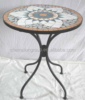 Garden Mosaic Table Ceramic Tiles Round