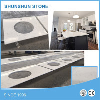 Double Colors Artificial White Quartz Stone Kitchen Counter Top