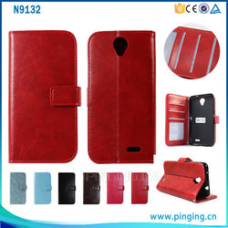 Crystal crazy horse grain wallet style leather case cover for ZTE Prestige N9132