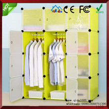 2016 new cartoon portable assemble foldable cheap plastic wardrobe with 12 cubes