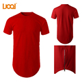 Custom Mens Tall Tee Extra Side Zip Longline T shirt