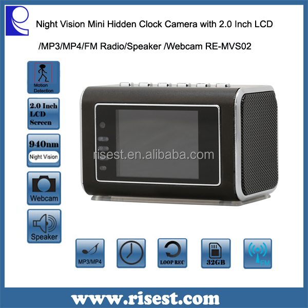 Mini Speaker Tiny Camera with Night Vision and Motion Detection + MP3+ MP4+ FM Radio RE-MVS02