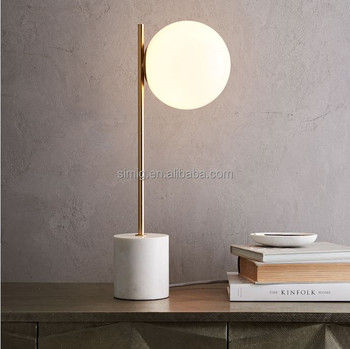 Modern Nordic white marble base glass matte round shade designer table lamp