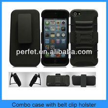 Rubberized for iphone 5 Combo Holster Case 3 in 1 RUGGED COVER KICKSTAND HYBRID CASE WITH BELT CLIP (PT-I5S208)