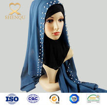 Fashion Hijab Pearl Cotton Scarf Chain Colorful Scarves wholesale muslim scarf hijab