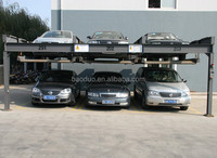 electro-mechanical four post car lift parking for 6 cars