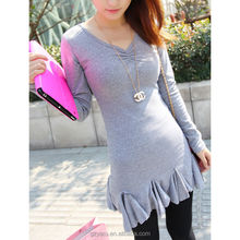 Long sleeve cotton spandex jersey dresses ladies sexy under garments
