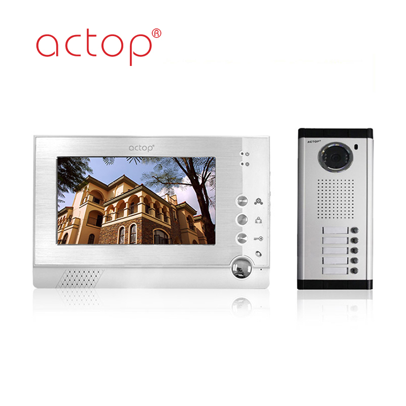 Shenzhen factory ACTOP wired video doorbell camera for 5 apartments intercom system
