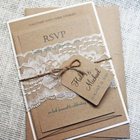 2015 rustic style kraft with pure white lace and kraft style label wedding invitation cards