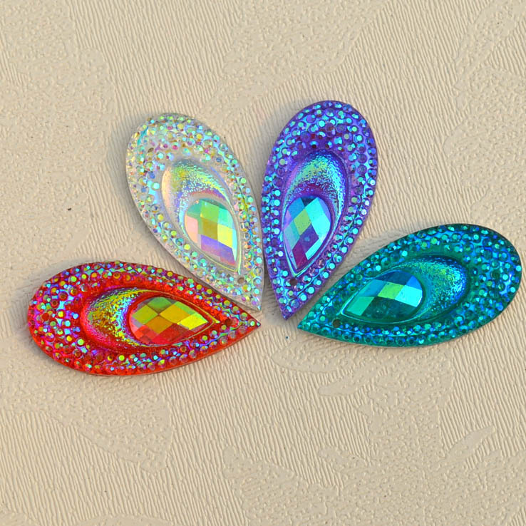 Peacock Eye Rhinestone ,Teardrop Shape Cabochon ,Jewelery Finding