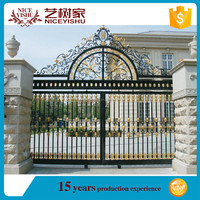 Fashion powder coated latest main gate designs/used wrought iron gate/Ltaest garden main gate designs