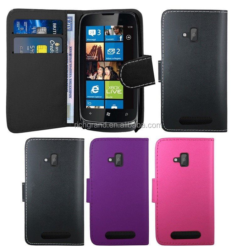 Fashion book wallet quality leather case cover for Nokia Lumia 610