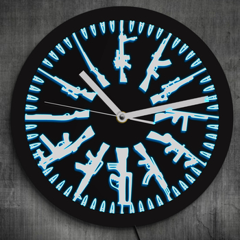 Different Guns Military Weapons Neon Wall Clock Gun and Bullets Illuminated Wall Clock
