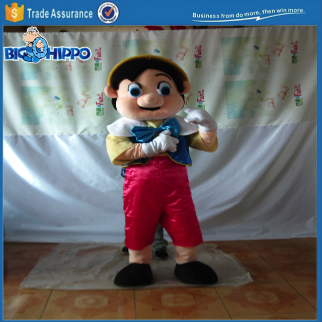 Magic string wooden puppet pinocchio children story high quality custom mascot costume